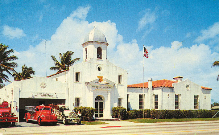 Silver paint covered the copper dome in a postcard view of Boca Raton's town hall from 1956. The dome has been gold since the 1980s. Photo provided by Boca Raton Historical Society
